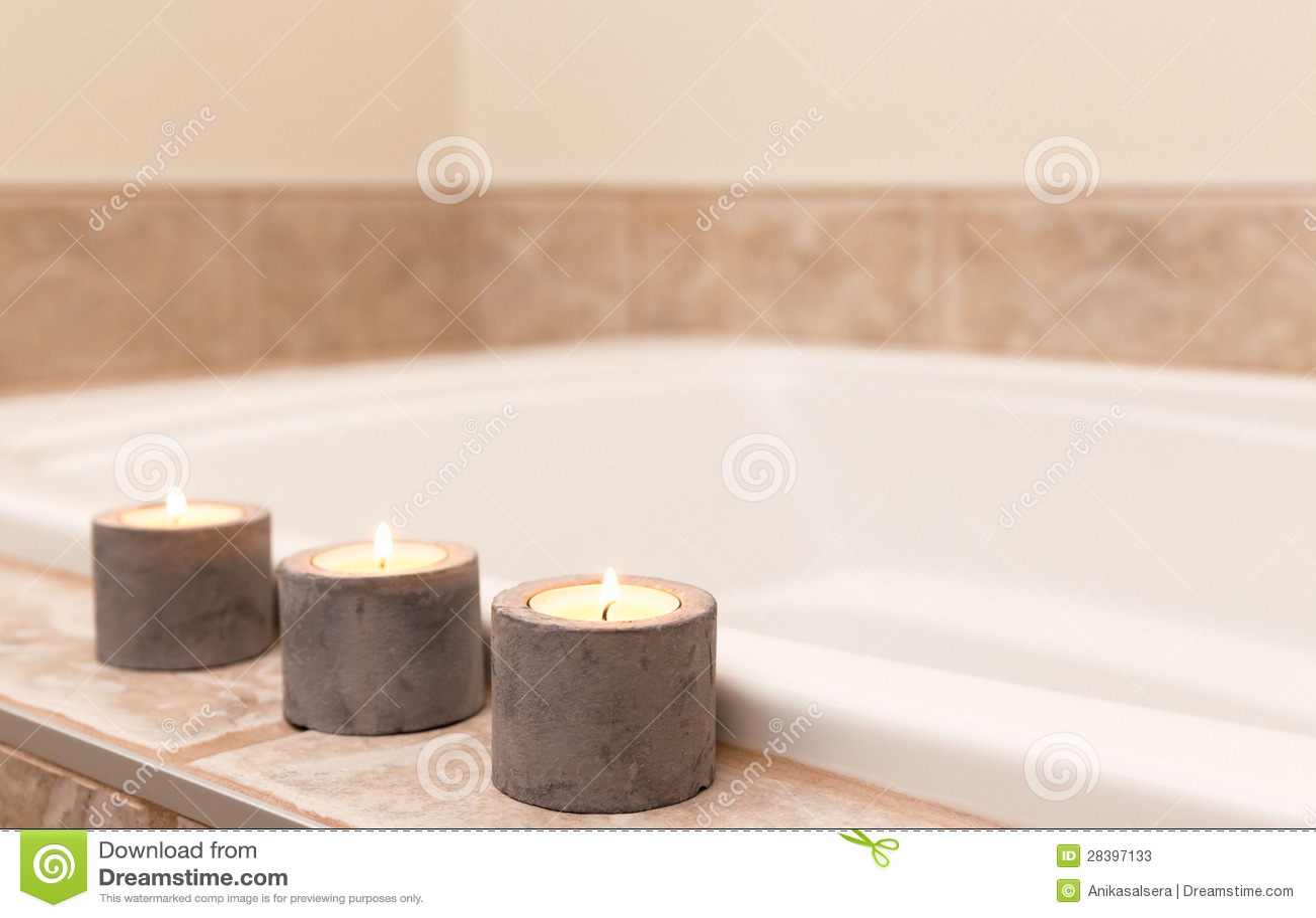 Three Candles Decorating Bathroom Stock Image Image Of