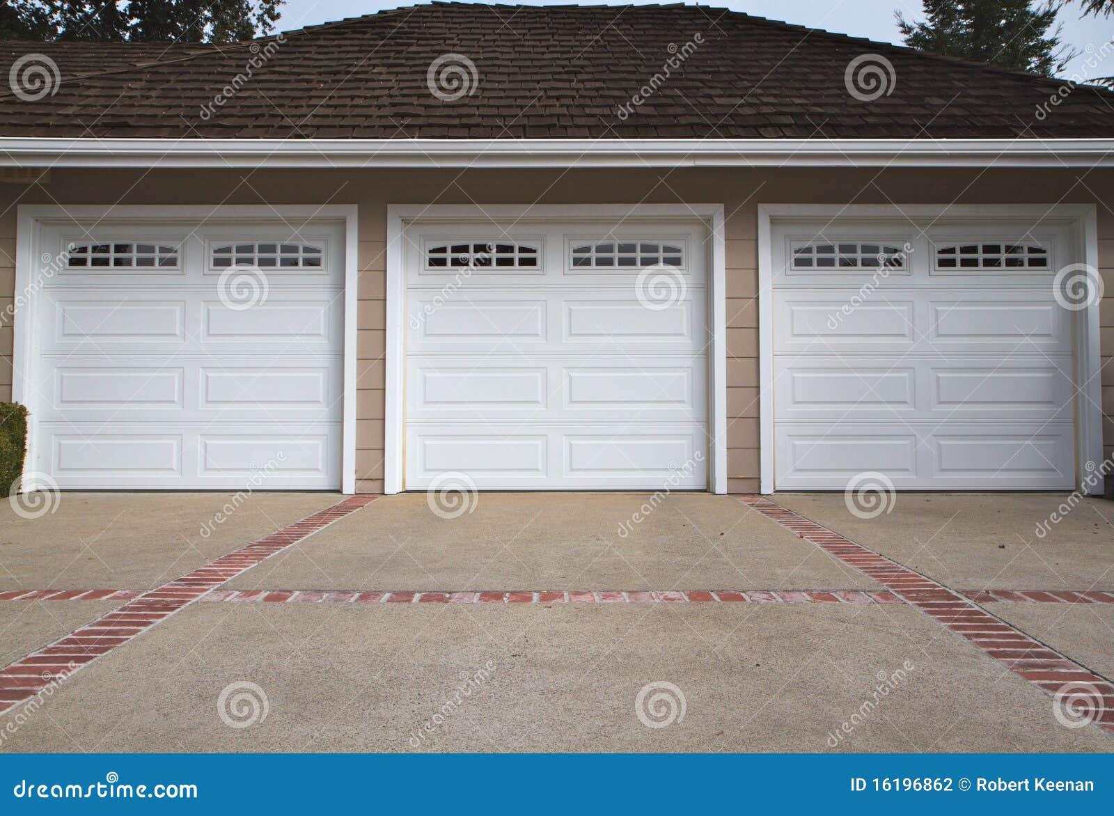 Three Car Garage Close Stock Photography Image 16196862