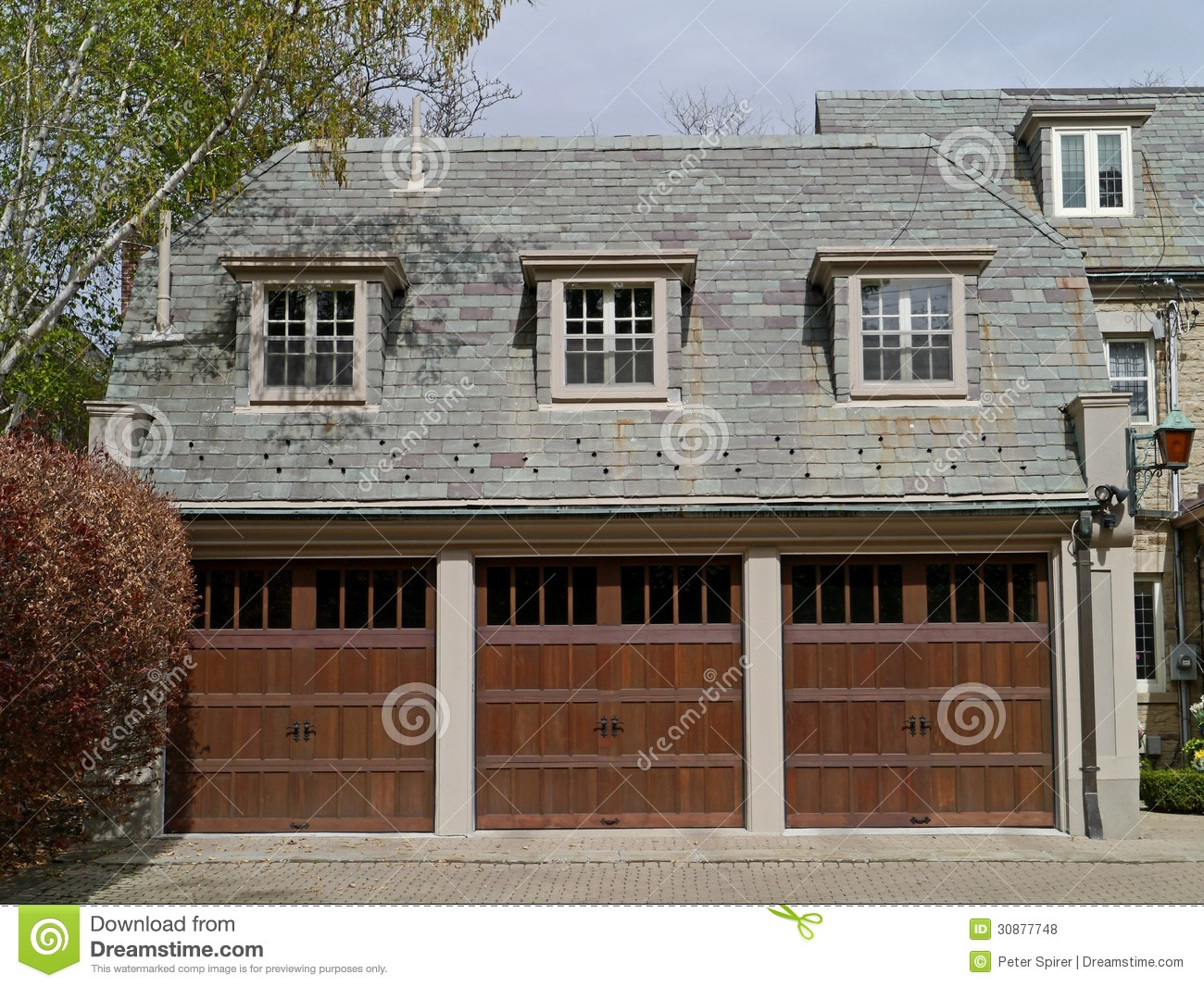 Three car garage with slate roof royalty free stock photos for 3 car garage door