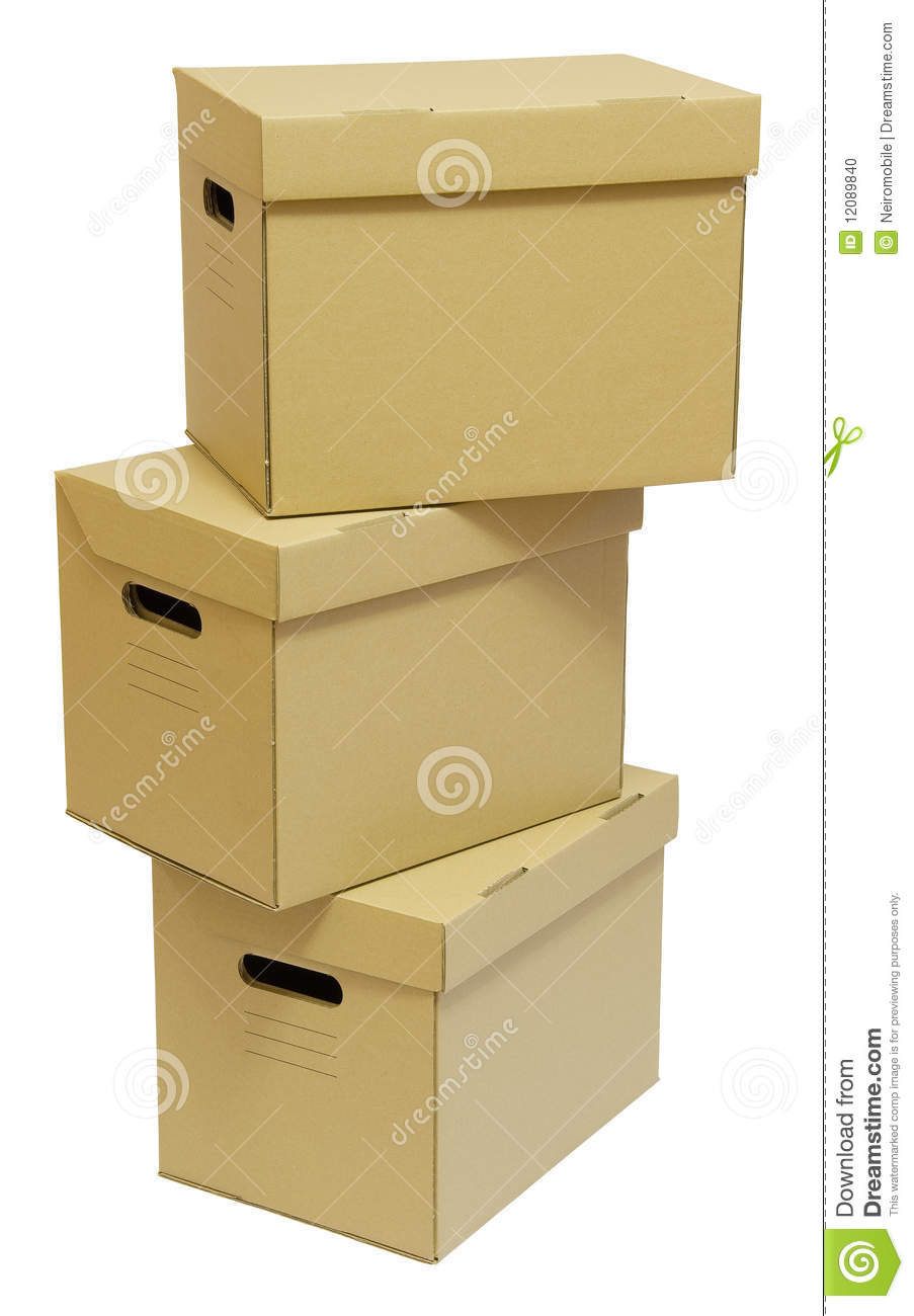 Three Cardboard Boxes With Handles Stock Photo Image