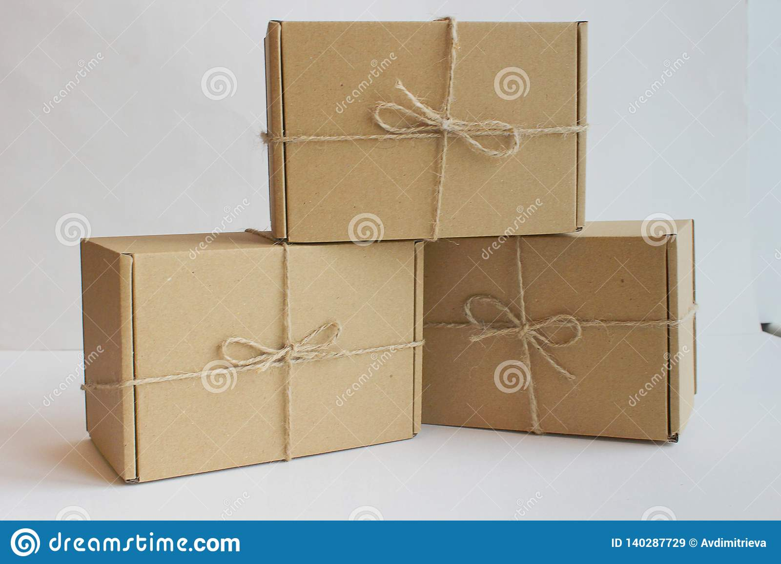 Three Cardboard Gift Boxes With Twine Stock Image Image Of Carton