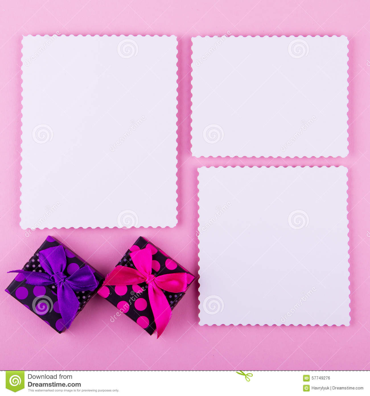 Three cards and gift boxes on pink background stock photo image of three cards and gift boxes on pink background good for blogs web facebook instagram on pink background love post card or greeting card m4hsunfo