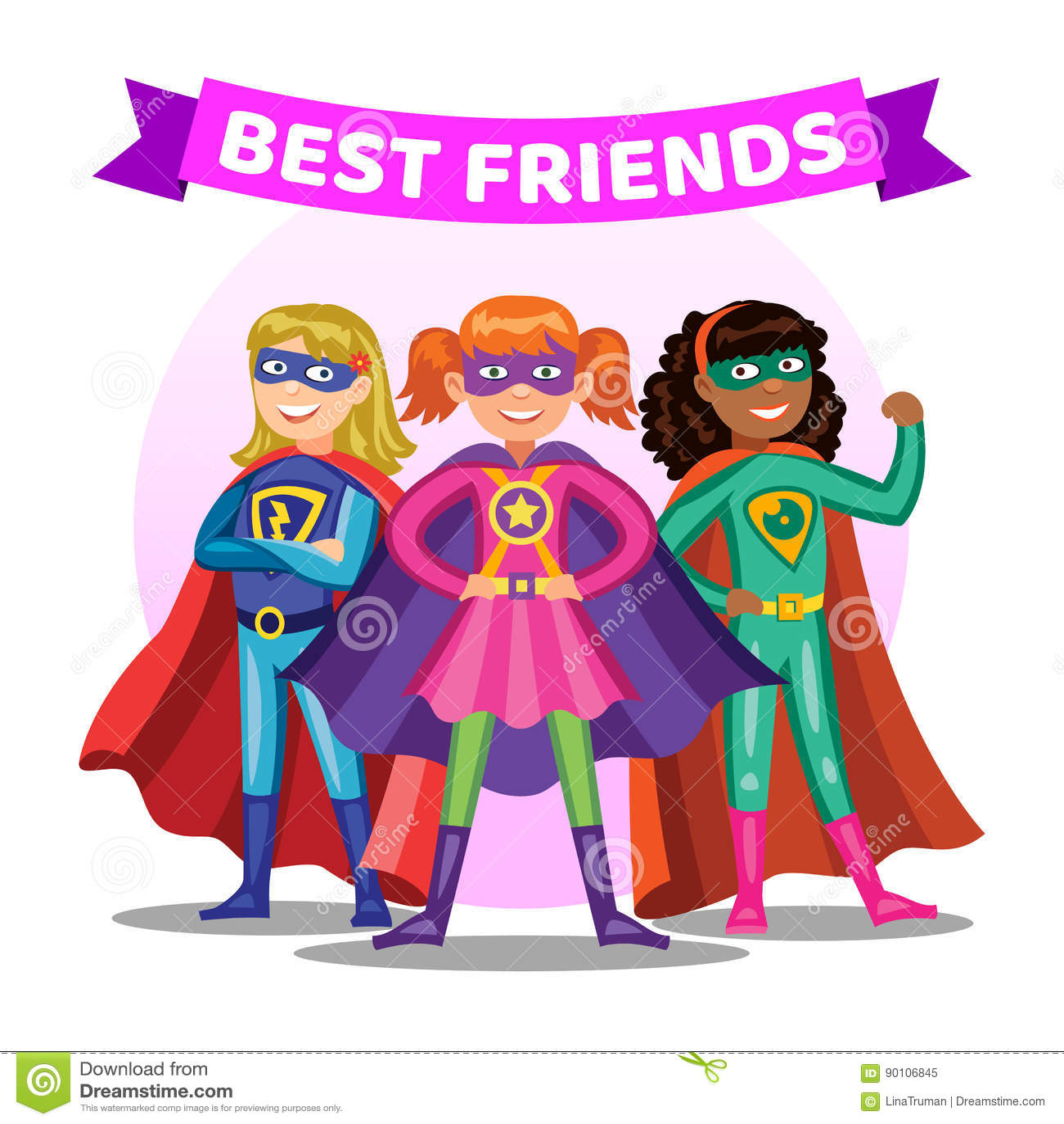 Three Cartoon Super es. Girls In Superhero Costumes Stock ...