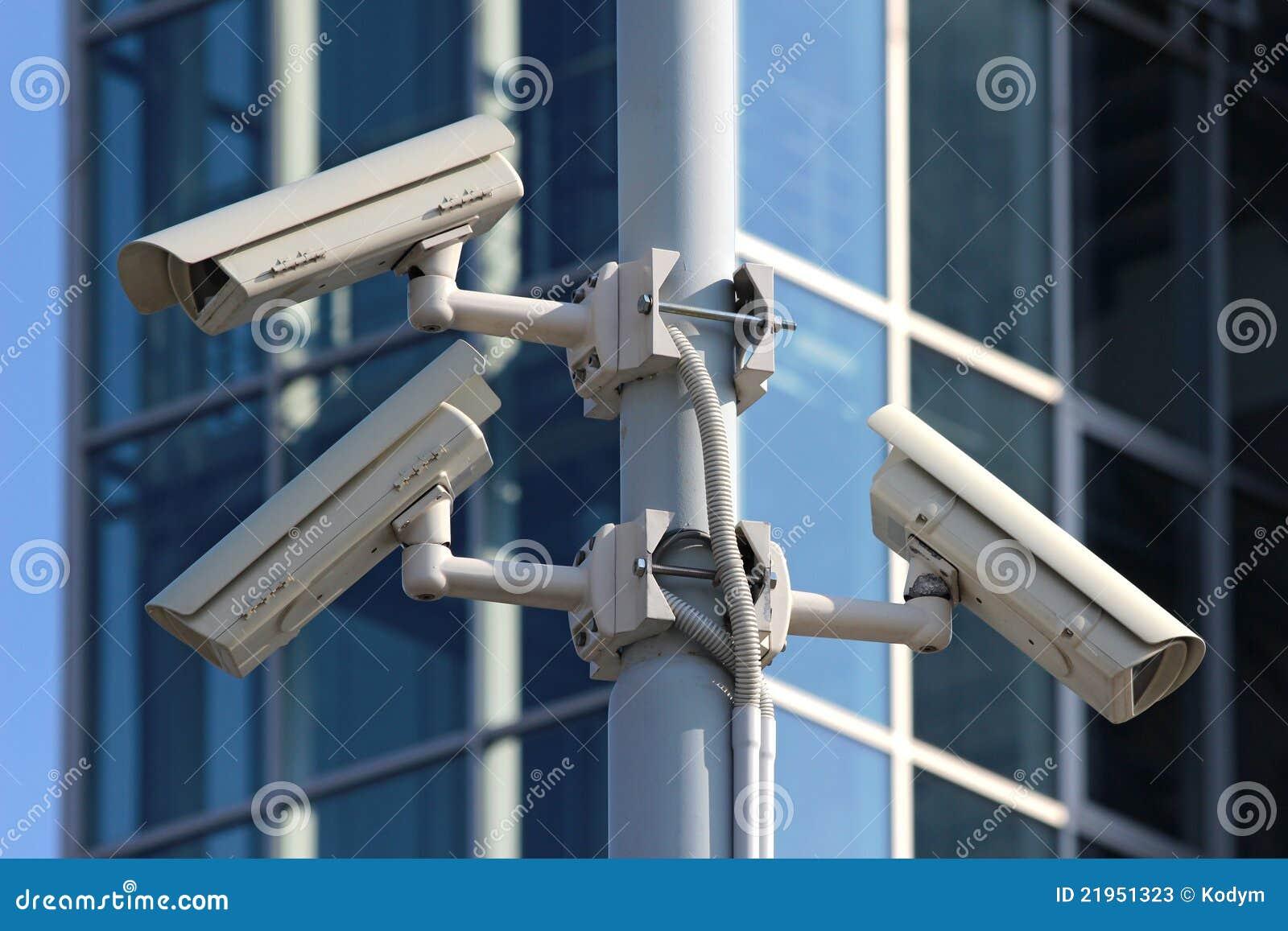 Three Cctv Security Cameras On The Street Pylon Stock