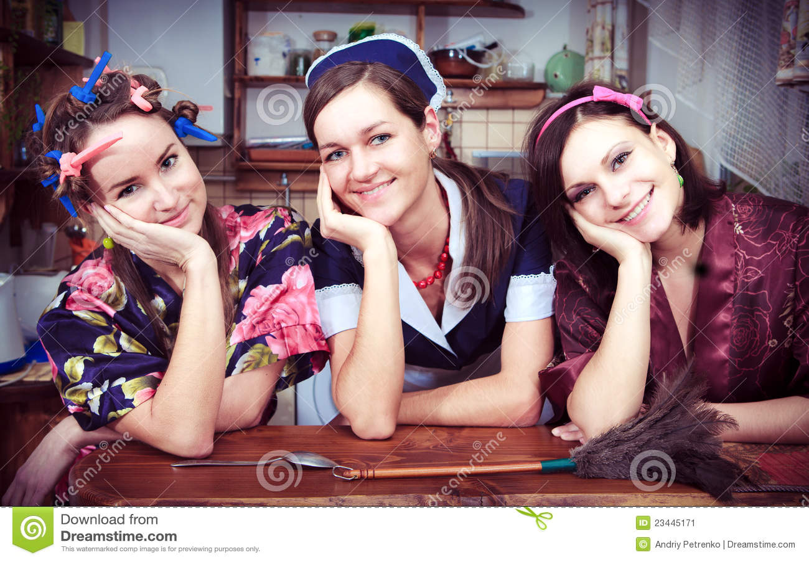Three cheerful housewives