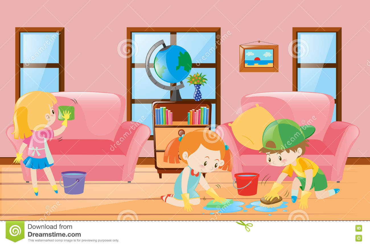 boy and girl cleaning living room cartoon vector 78803587. Black Bedroom Furniture Sets. Home Design Ideas
