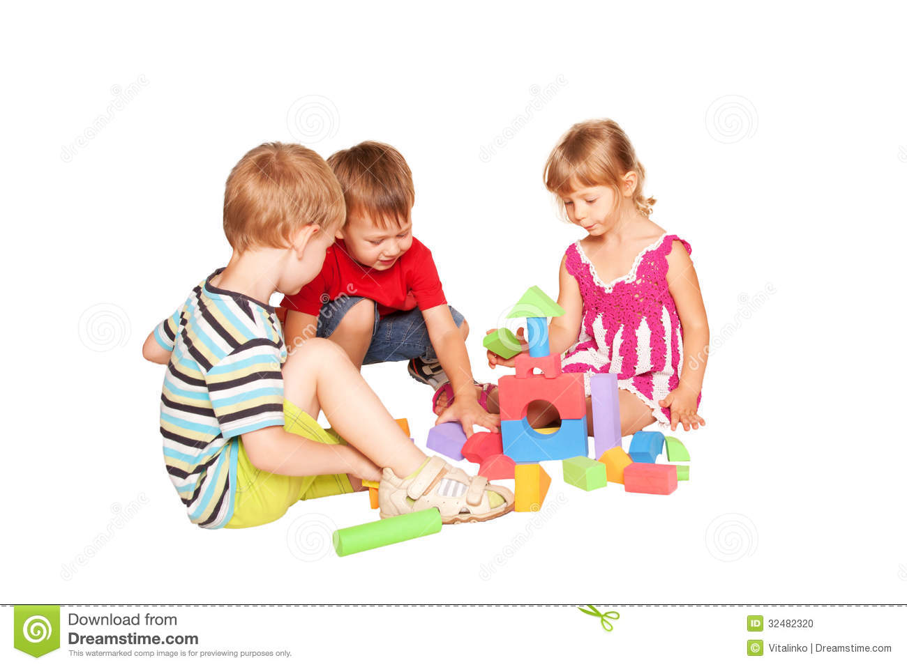 Three Children Playing And Building Together. Stock Photo - Image ...
