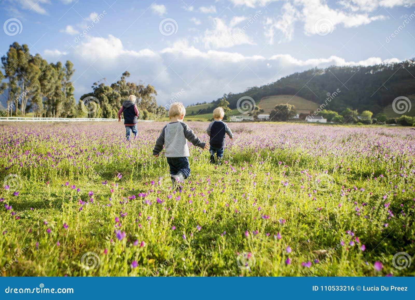 Three Children Run Through A Field Of Pink Flowers Stock Photo