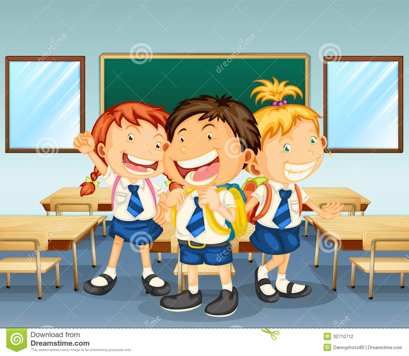 Three Children Smiling Inside The Classroom Stock