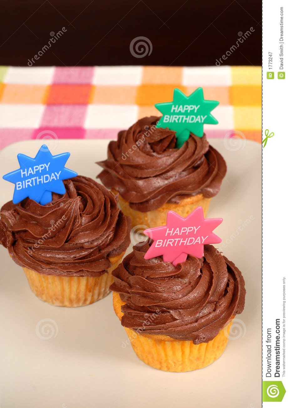 Three delicious chocolate frosted cupcakes with Happy Birthday on them ...