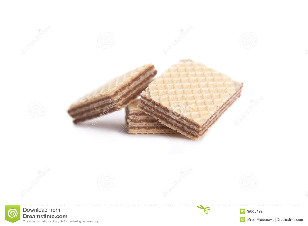 three chocolate wafers on a white background