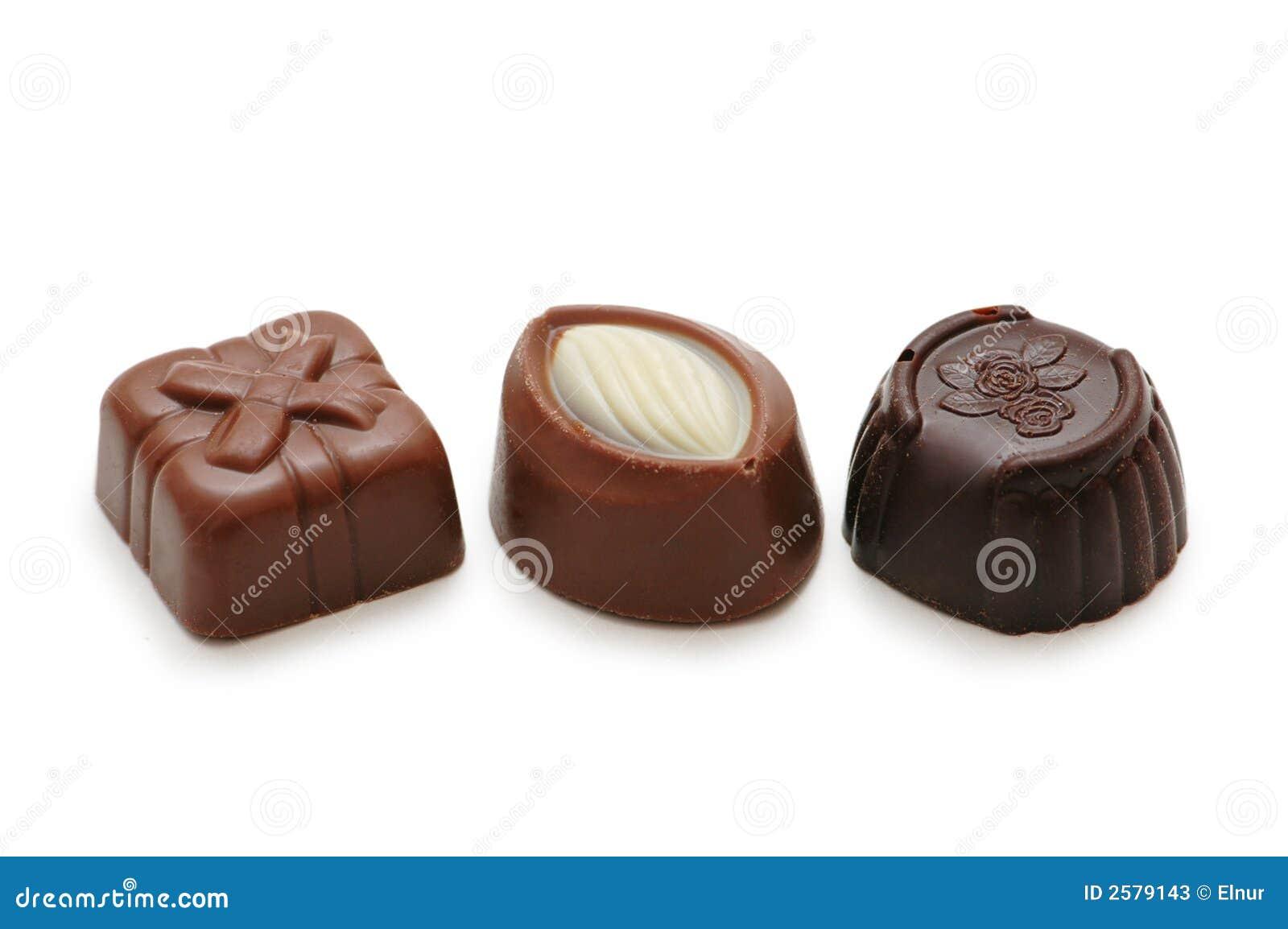 Three chocolates isolated