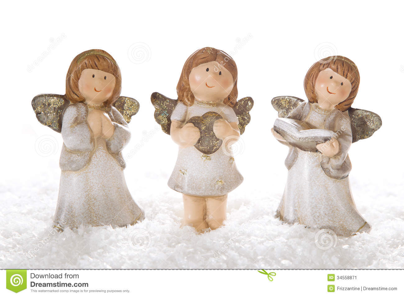 Three Christmas Angels In White Isolated For Decoration Stock Image ...