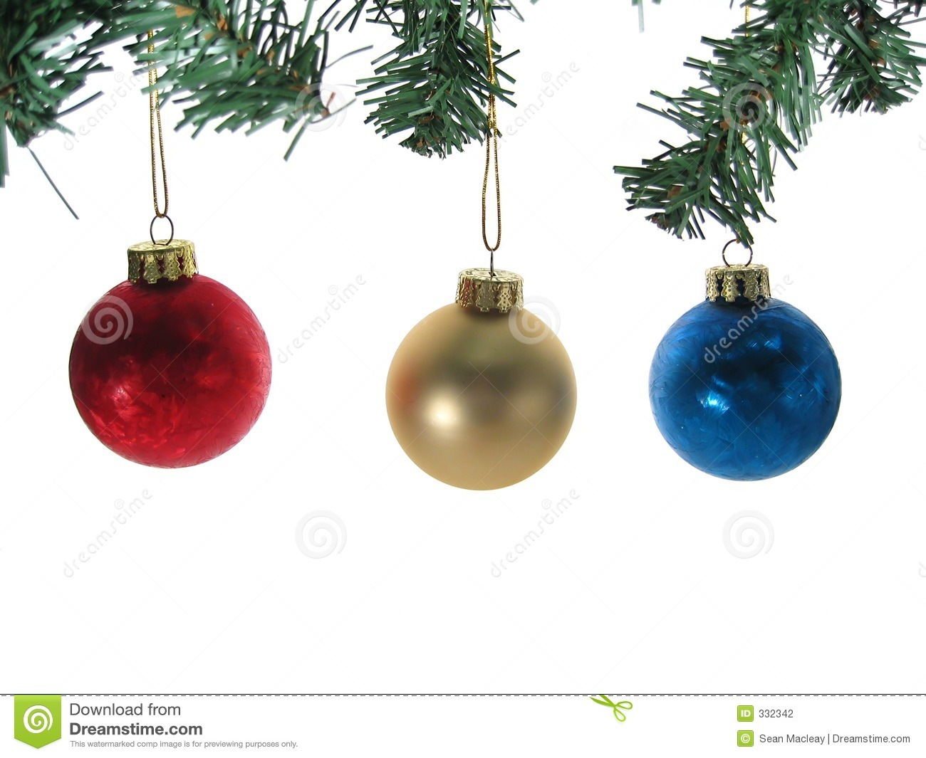 christmas tree ornaments three ornaments with tree branches isolated 29284