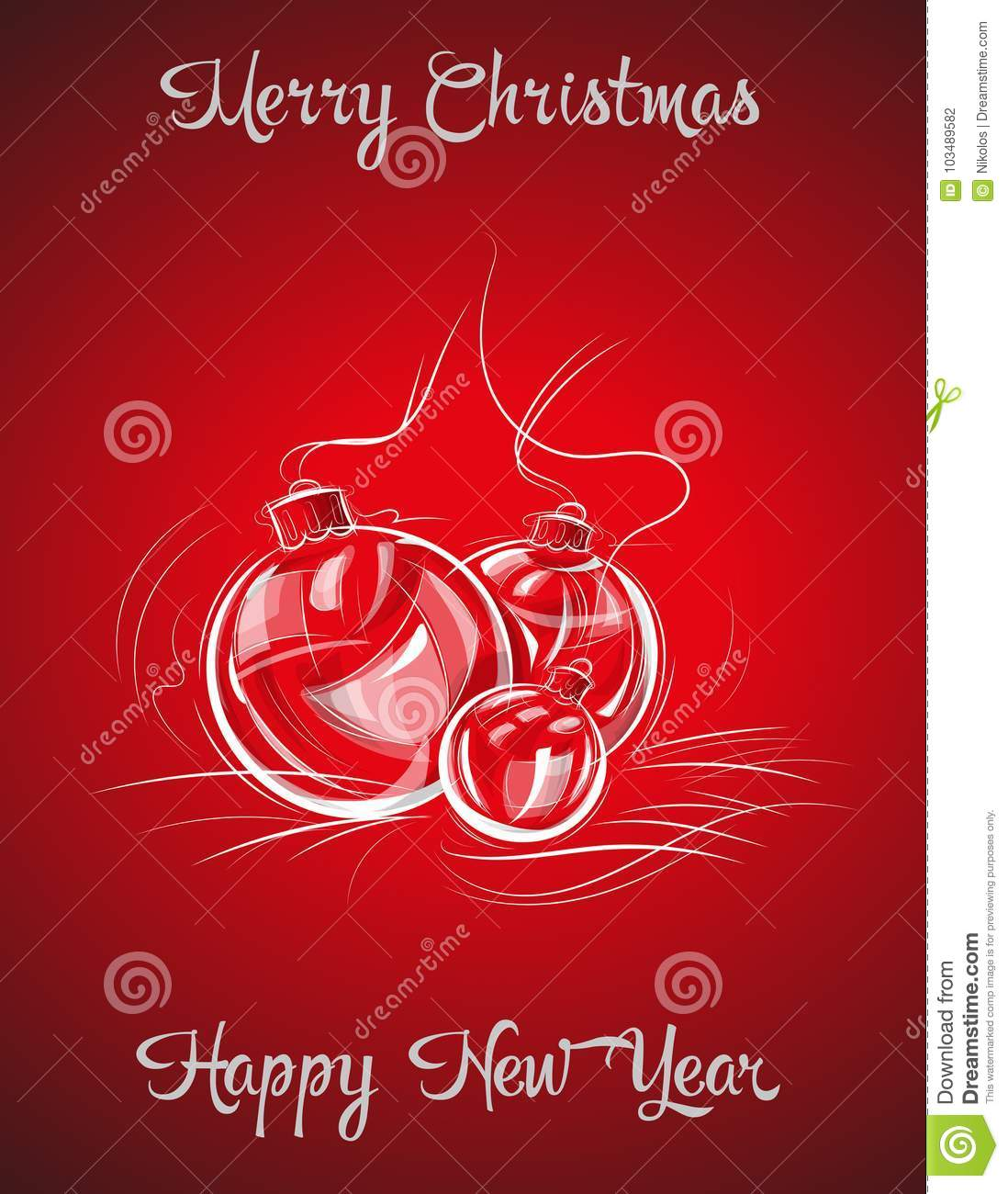 vector illustration shows three christmas balls new year and christmas themes