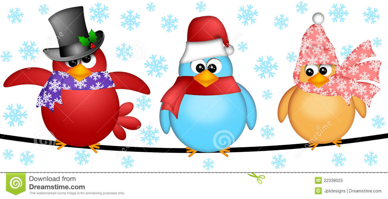three christmas birds on a wire illustration stock