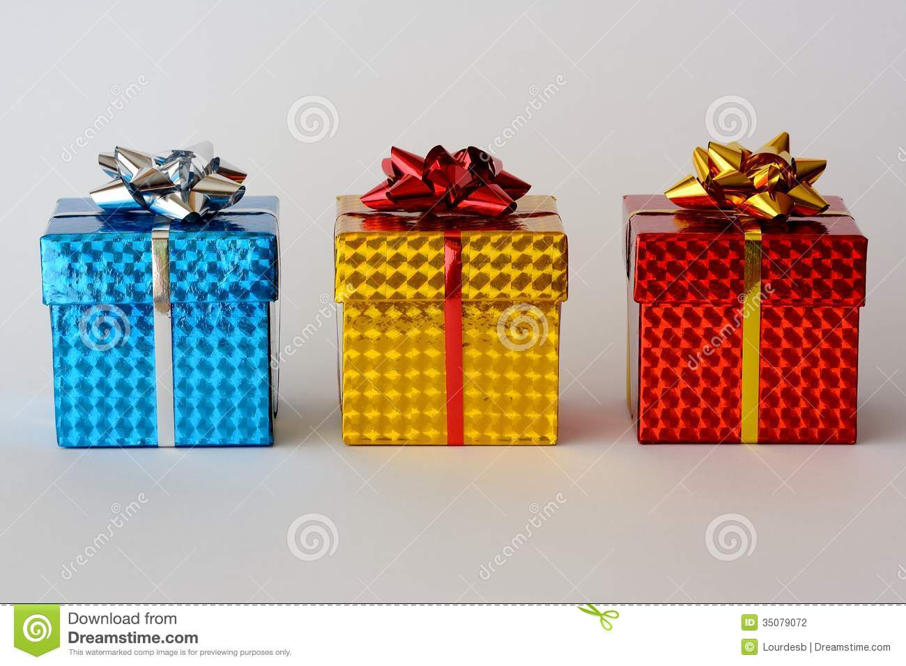 Small Christmas Gifts.Three Christmas Gifts Stock Photo Image Of Small Shiny