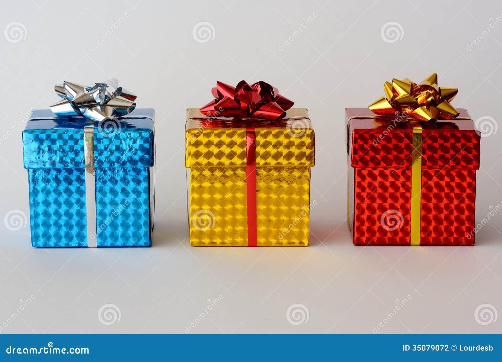Three christmas gifts stock photography image