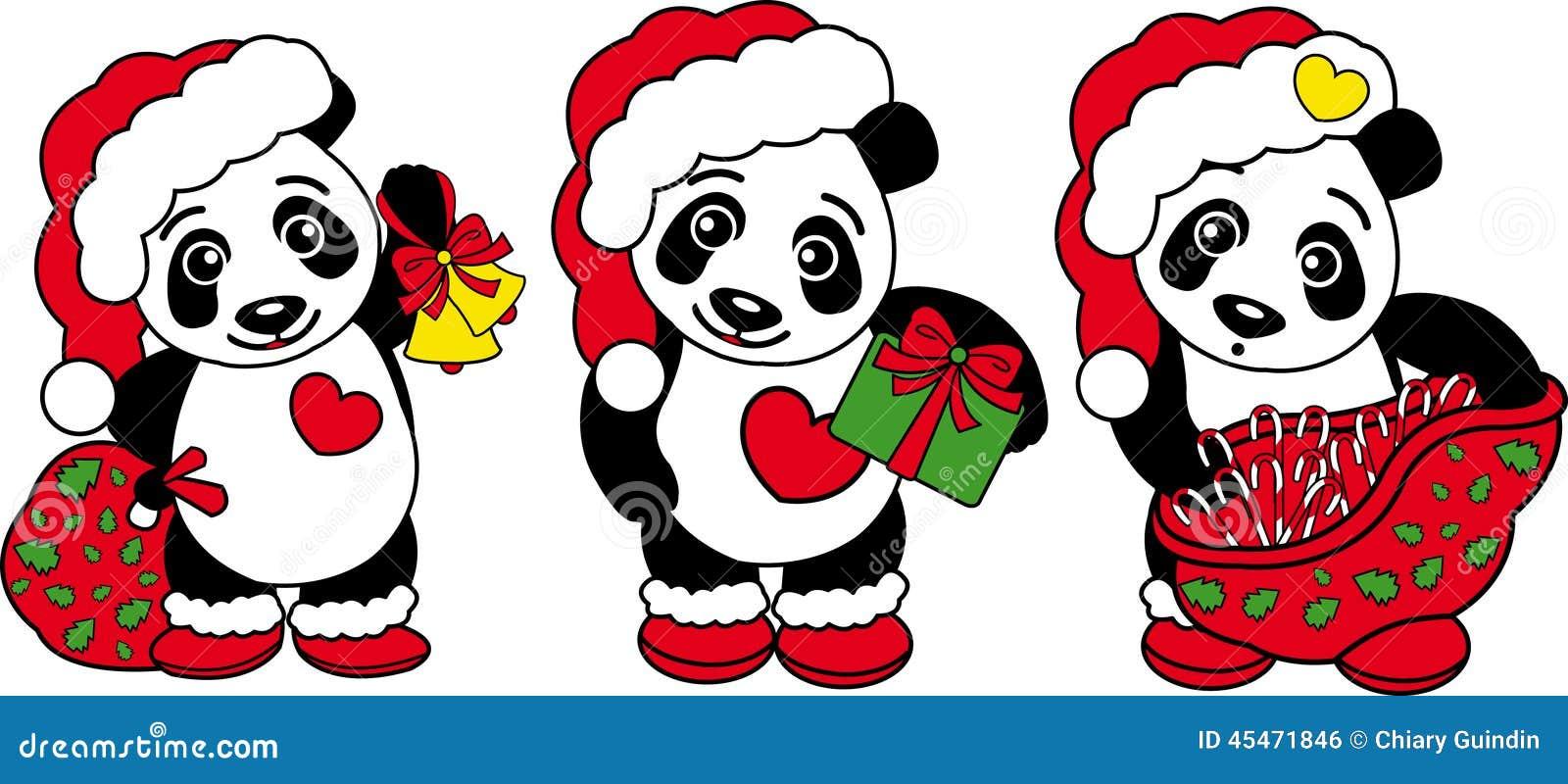 three christmas panda bear stock vector   image 45471846