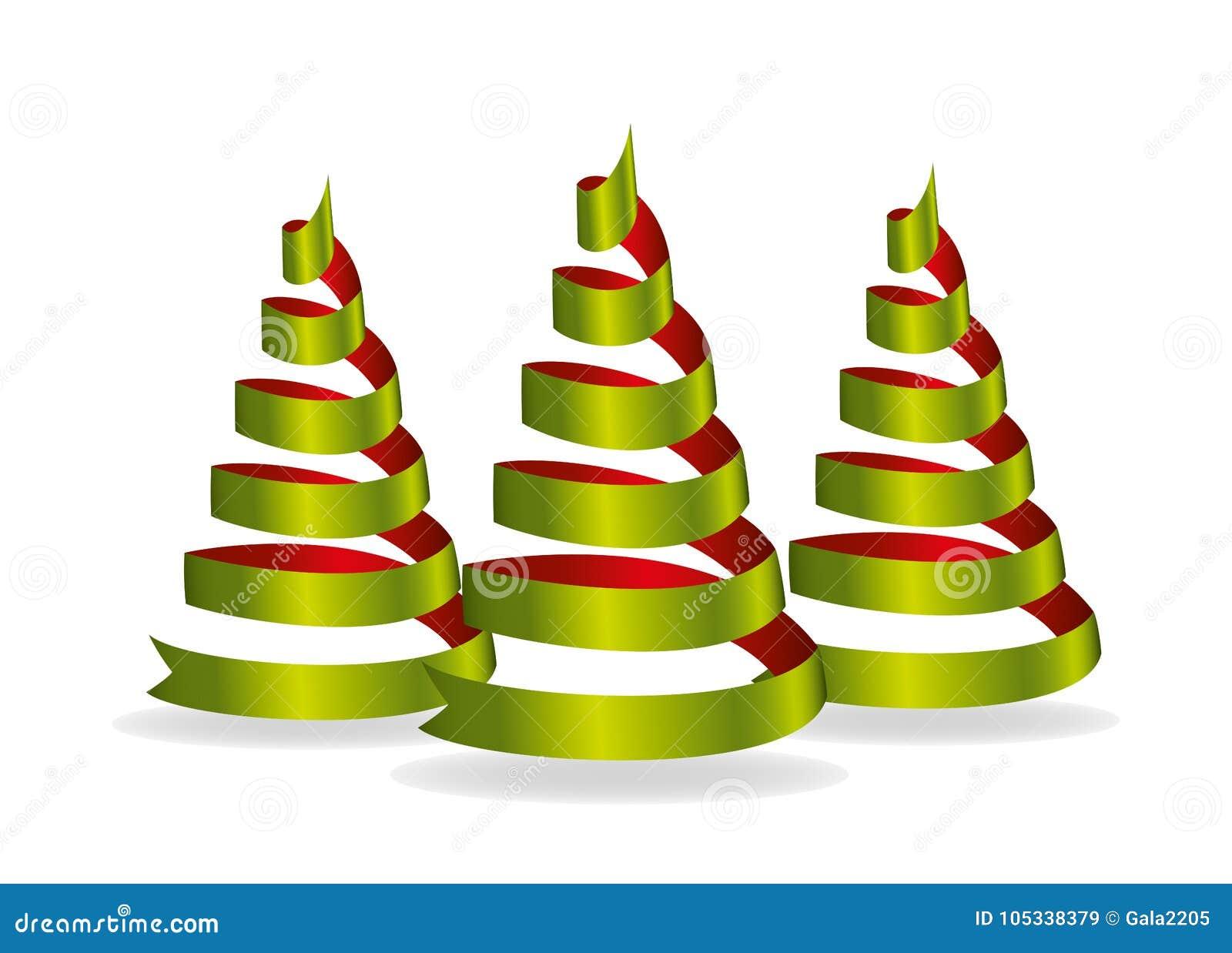 Three Christmas Tree Of Green And Red Ribbon. Vector