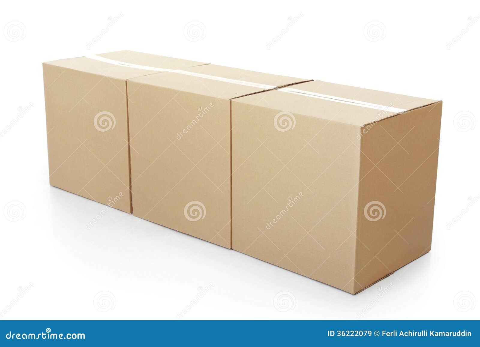 Three Closed cardboard box