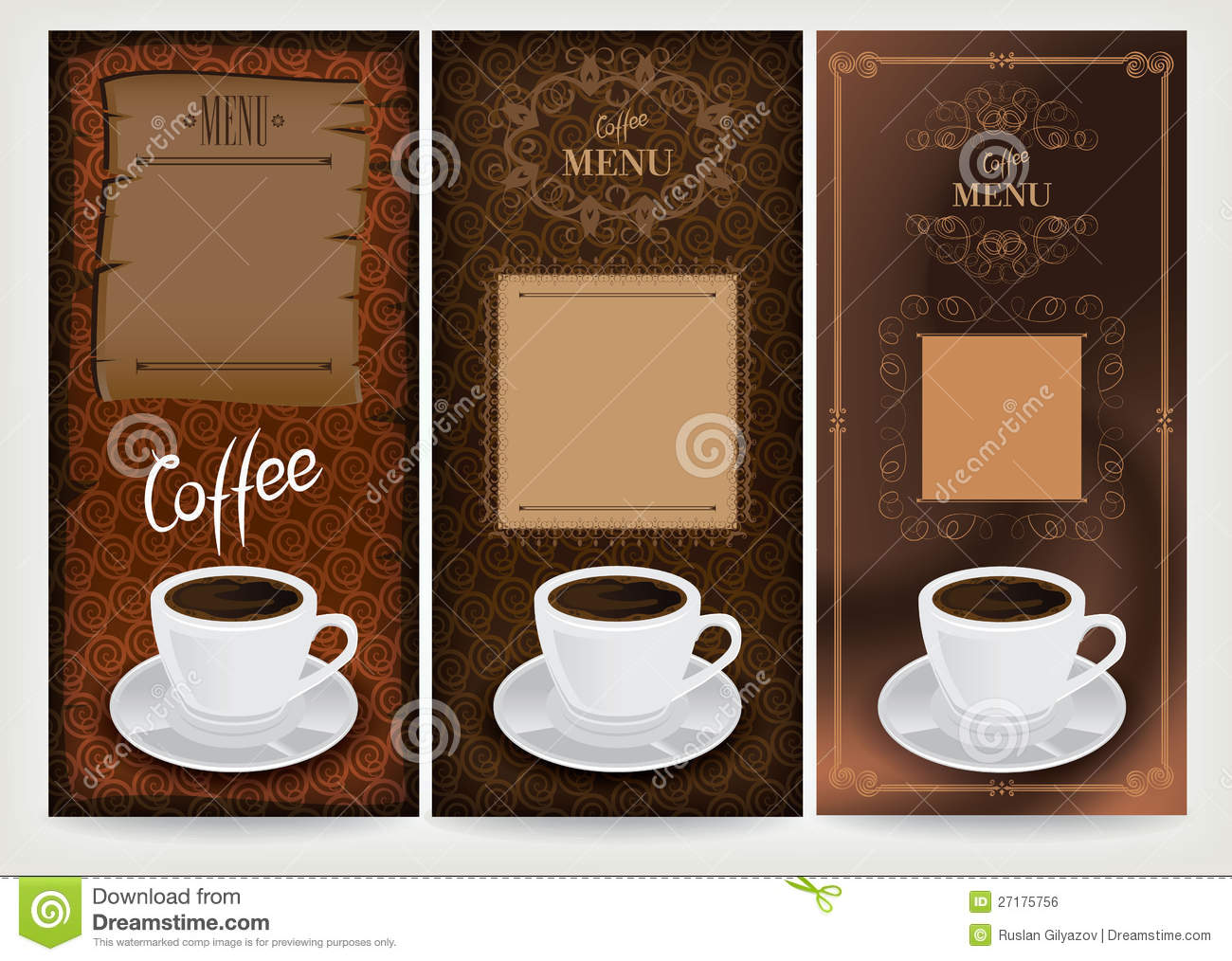 three coffee design templates  royalty free stock image