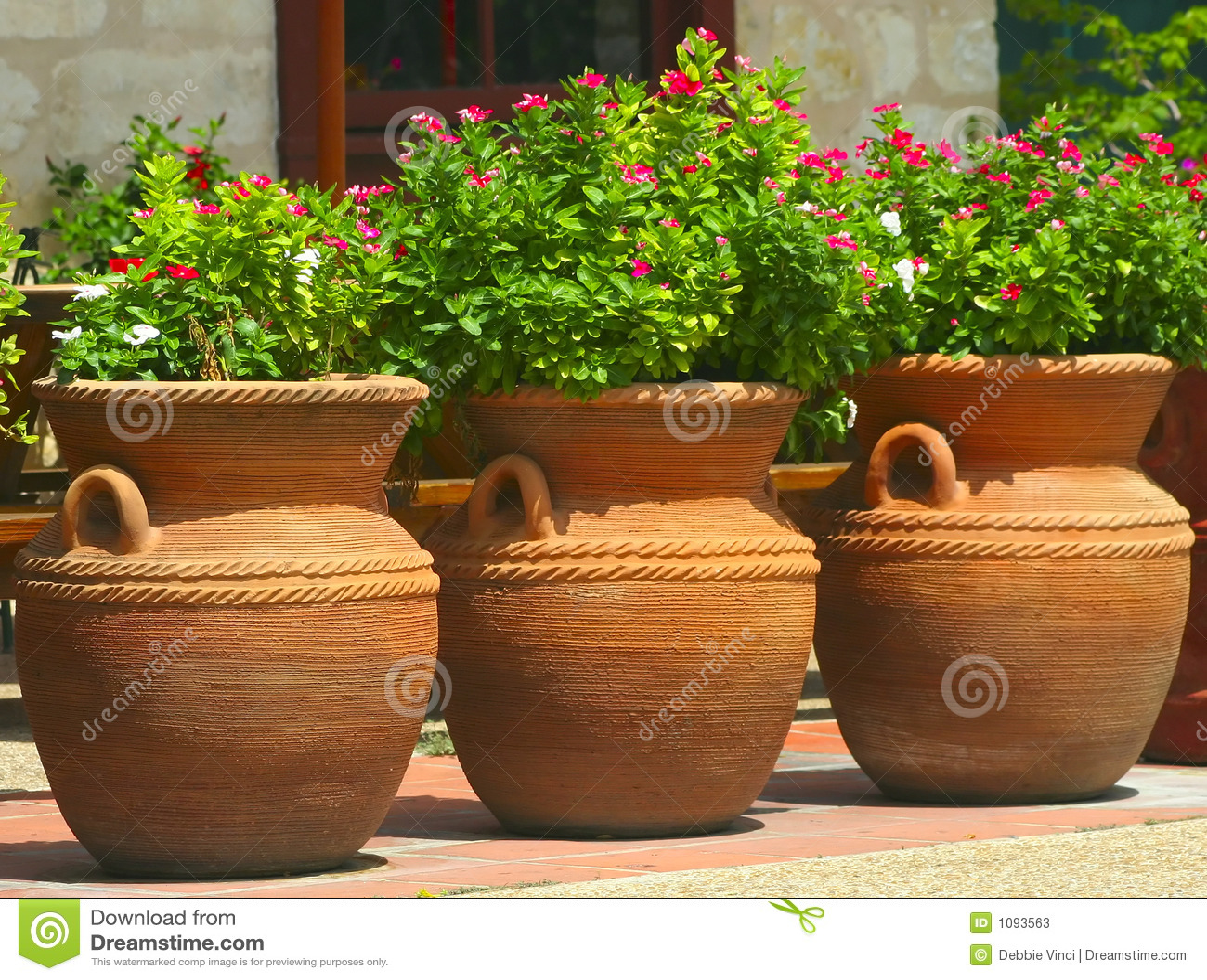 Three Coiled Clay Pots 2 Stock Photos Image 1093563