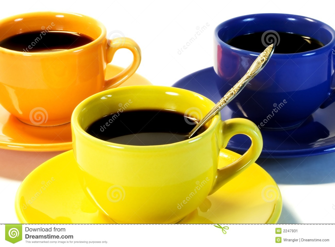 three color coffee cups stock image image of kitchen 2247931