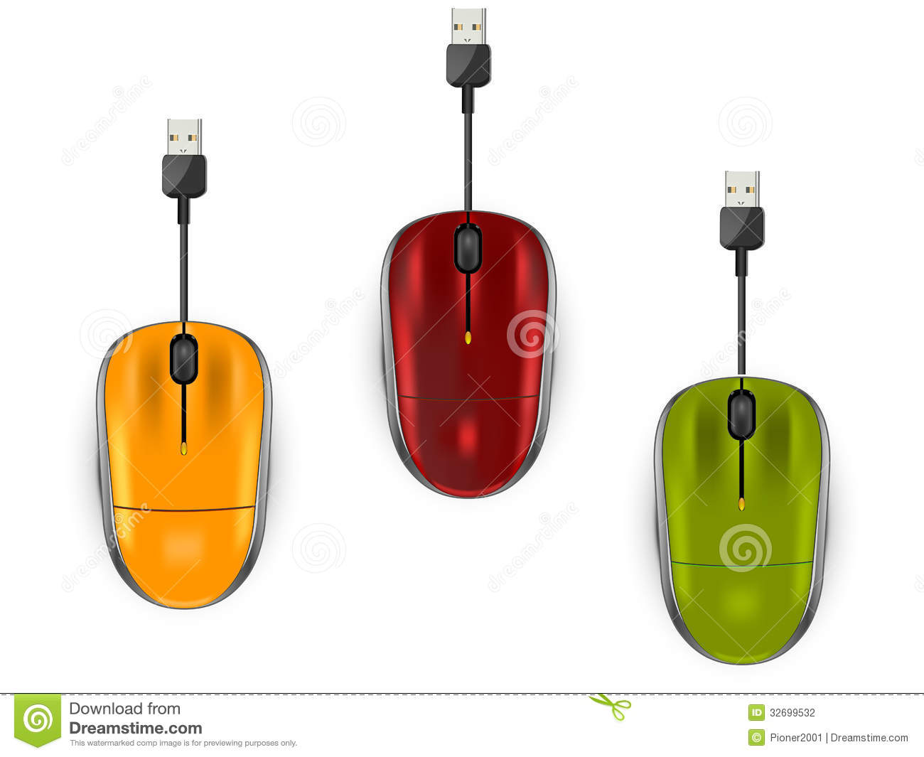 Three color computer mouse stock vector. Illustration of instrument ...