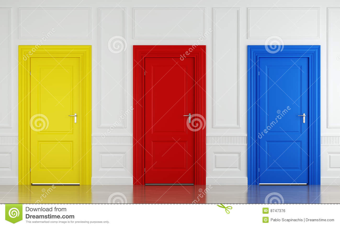 three color doors royalty free stock image - image: 8747376
