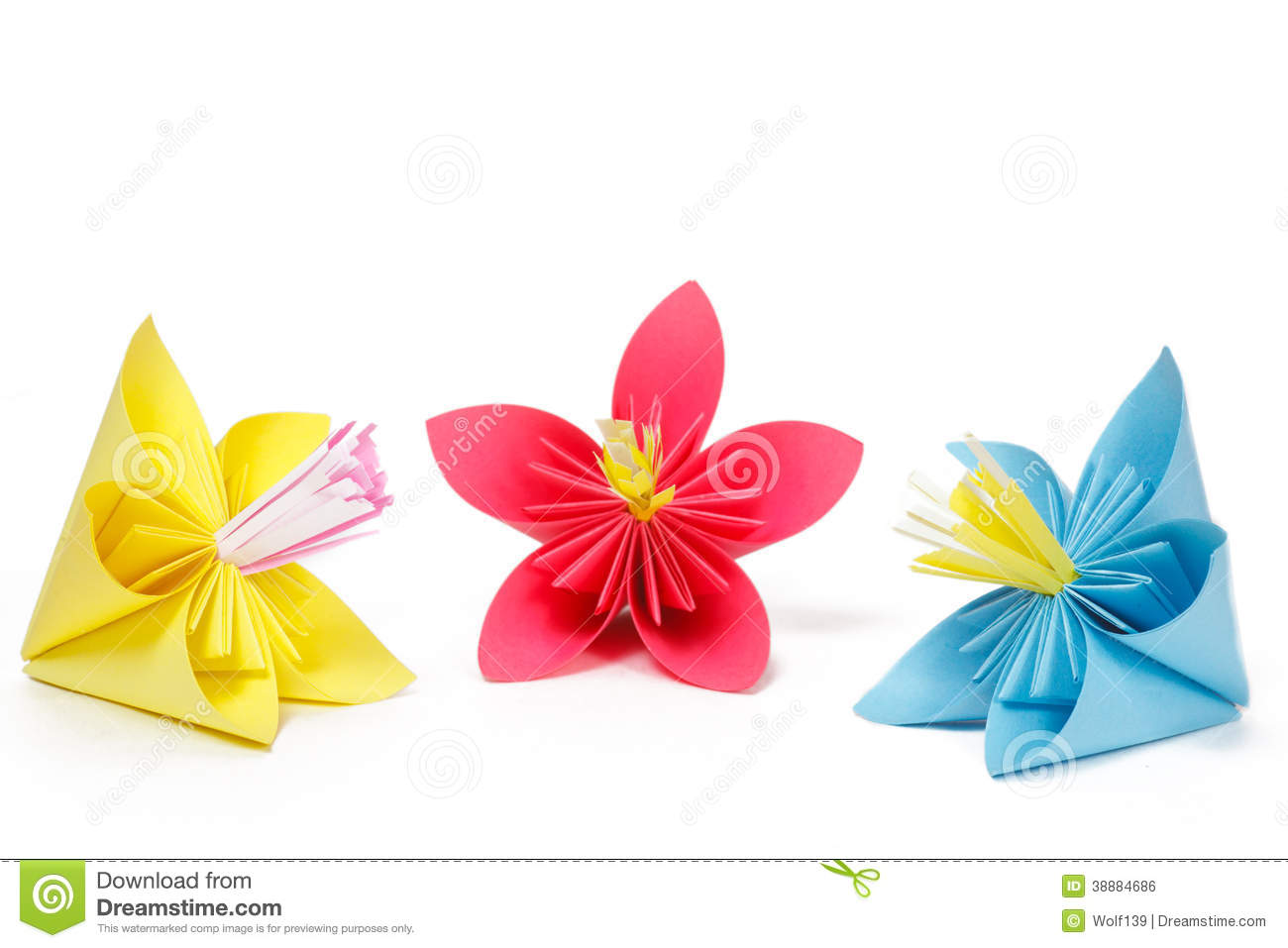 Three colored paper flowers stock photo image of decoration make three colored paper flowers mightylinksfo