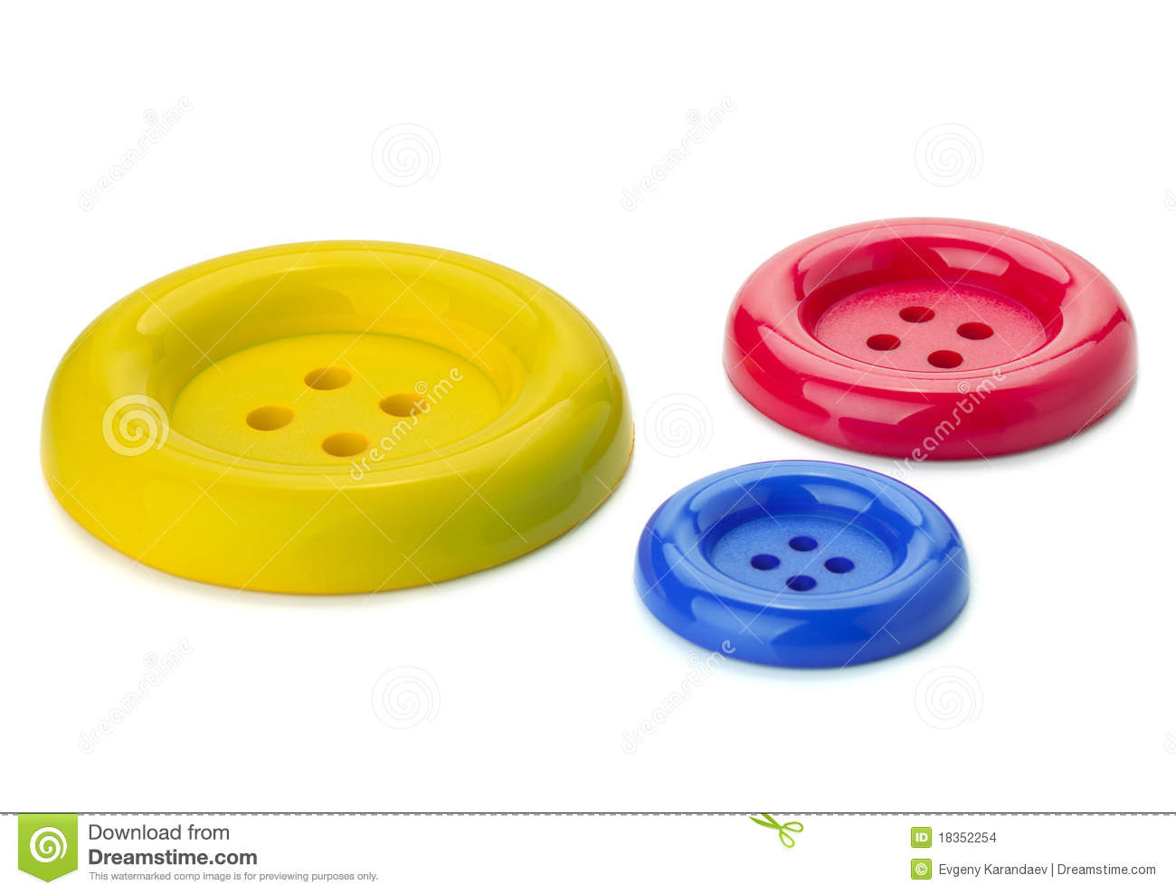 Three Colored Sewing Buttons Stock Images - Image: 18352254