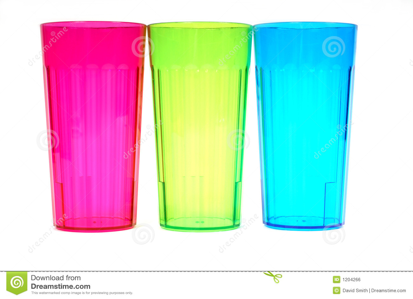Three colorful beverage glasses