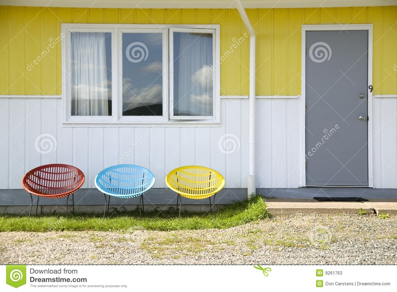Three Colorful Chairs Stock Photos Image 9261763