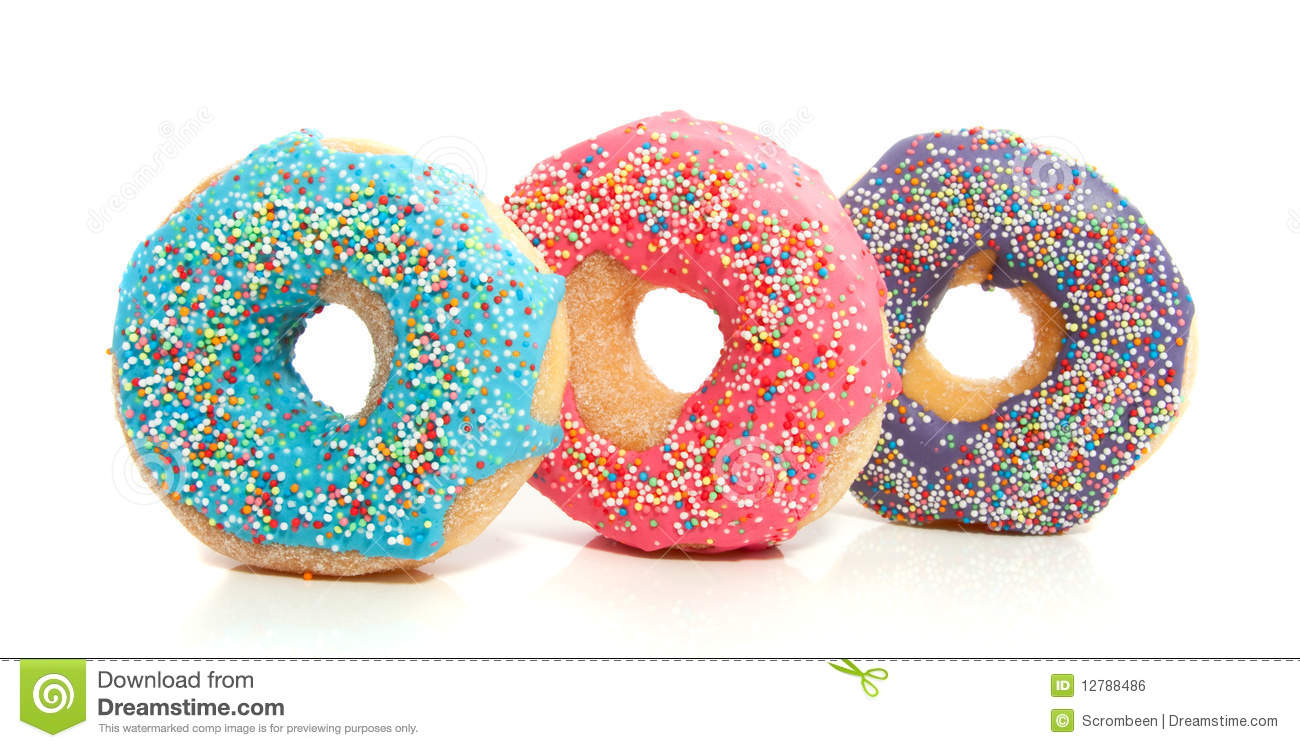 Three Colorful Donuts Royalty Free Stock Image - Image: 12788486