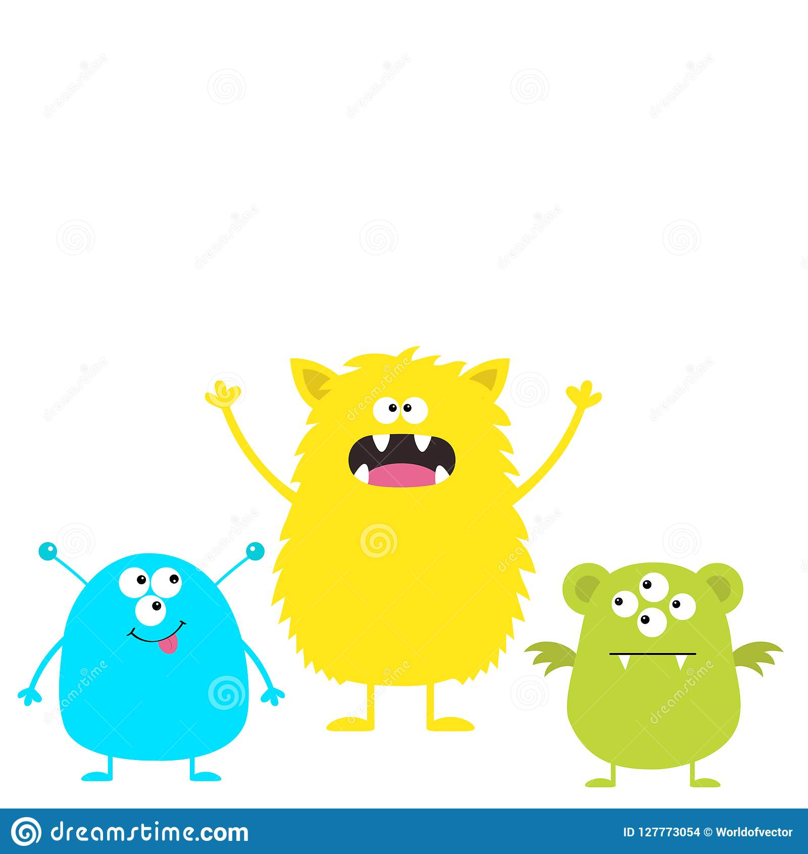 three colorful monster set head face cute cartoon scary character