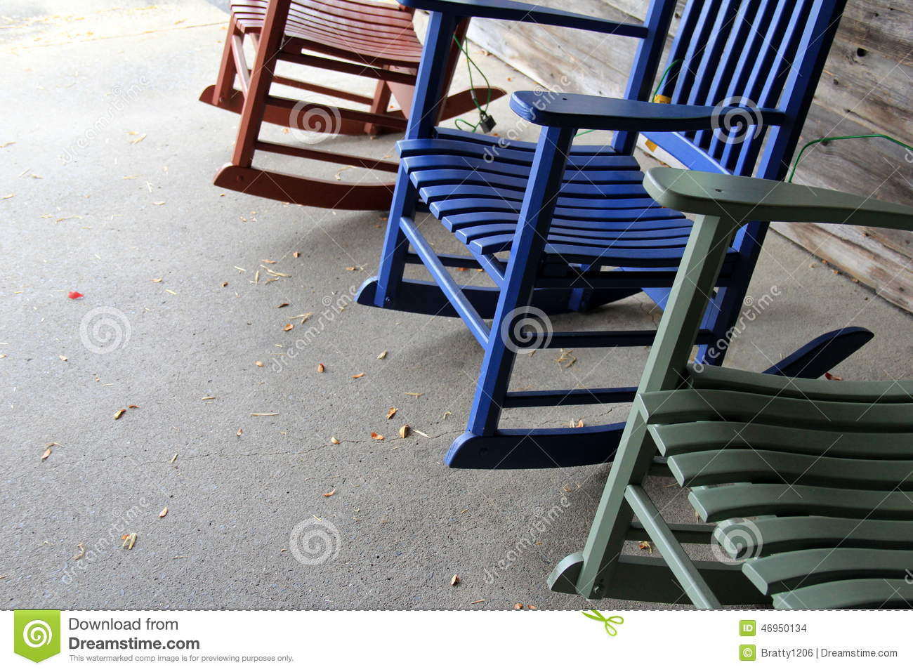 Marvelous Three Colorful Rocking Chairs On Cement Stock Photo Image Pdpeps Interior Chair Design Pdpepsorg