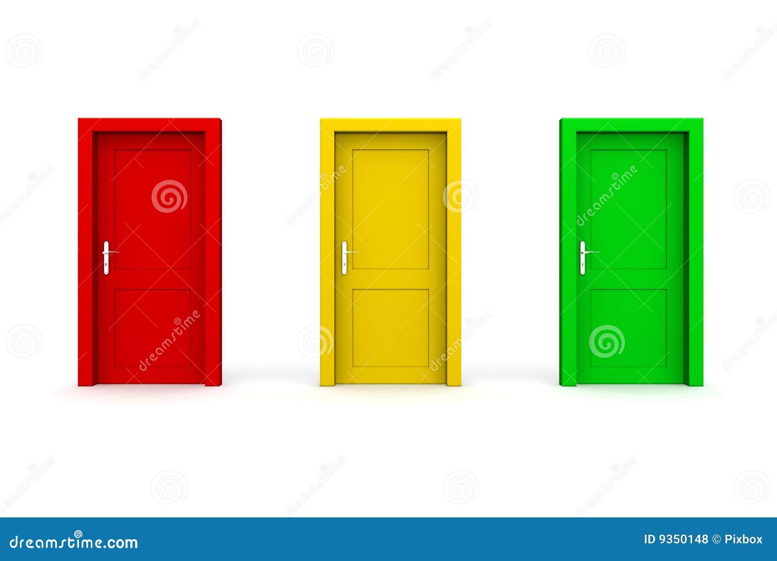 Three Coloured Doors - Red Yellow Green  sc 1 st  Dreamstime.com & Three Coloured Doors - Red Yellow Green Stock Illustration ...