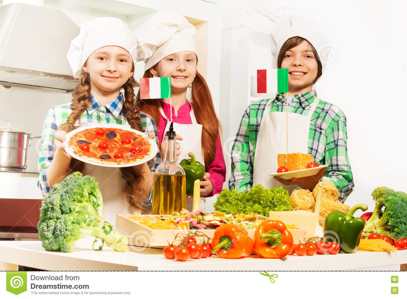 Three Cooks With Traditional Italian Food Products Stock Photo Image Of Italian Kitchenstuff 72936952