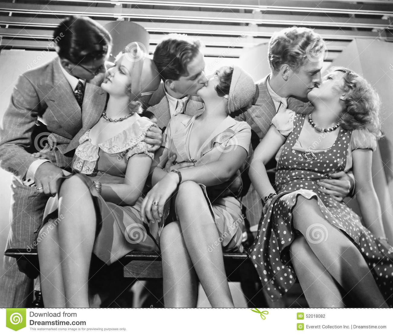 Three couples romancing and kissing