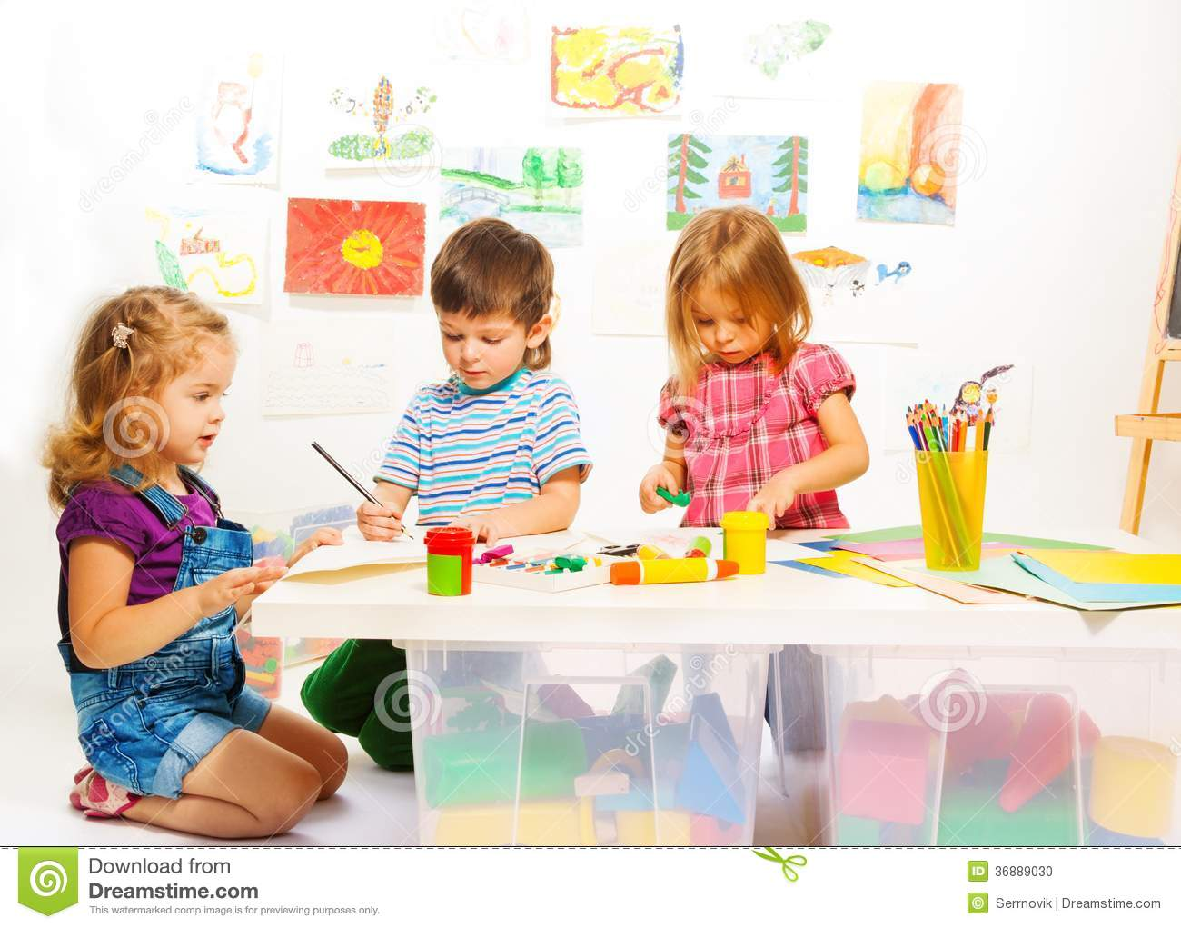 Three Creative Kids Stock Photo Image 36889030