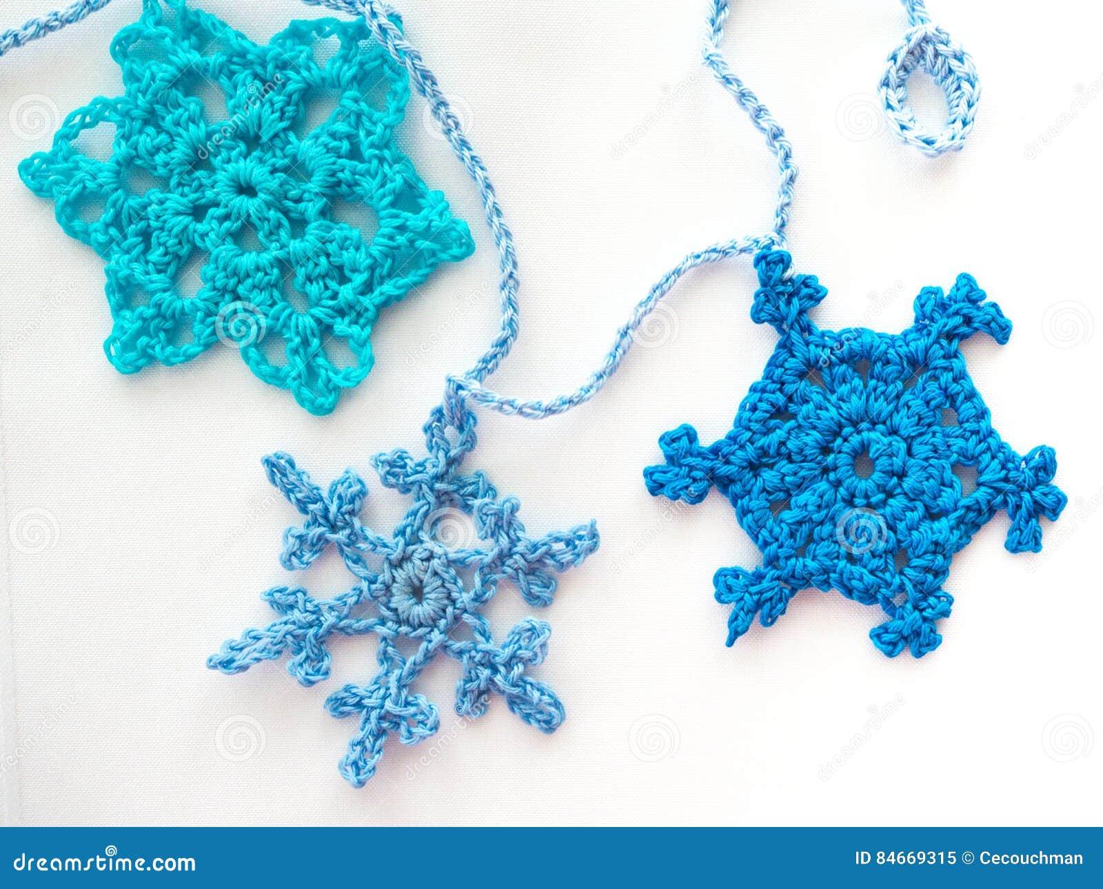 Three Crocheted Snowflakes