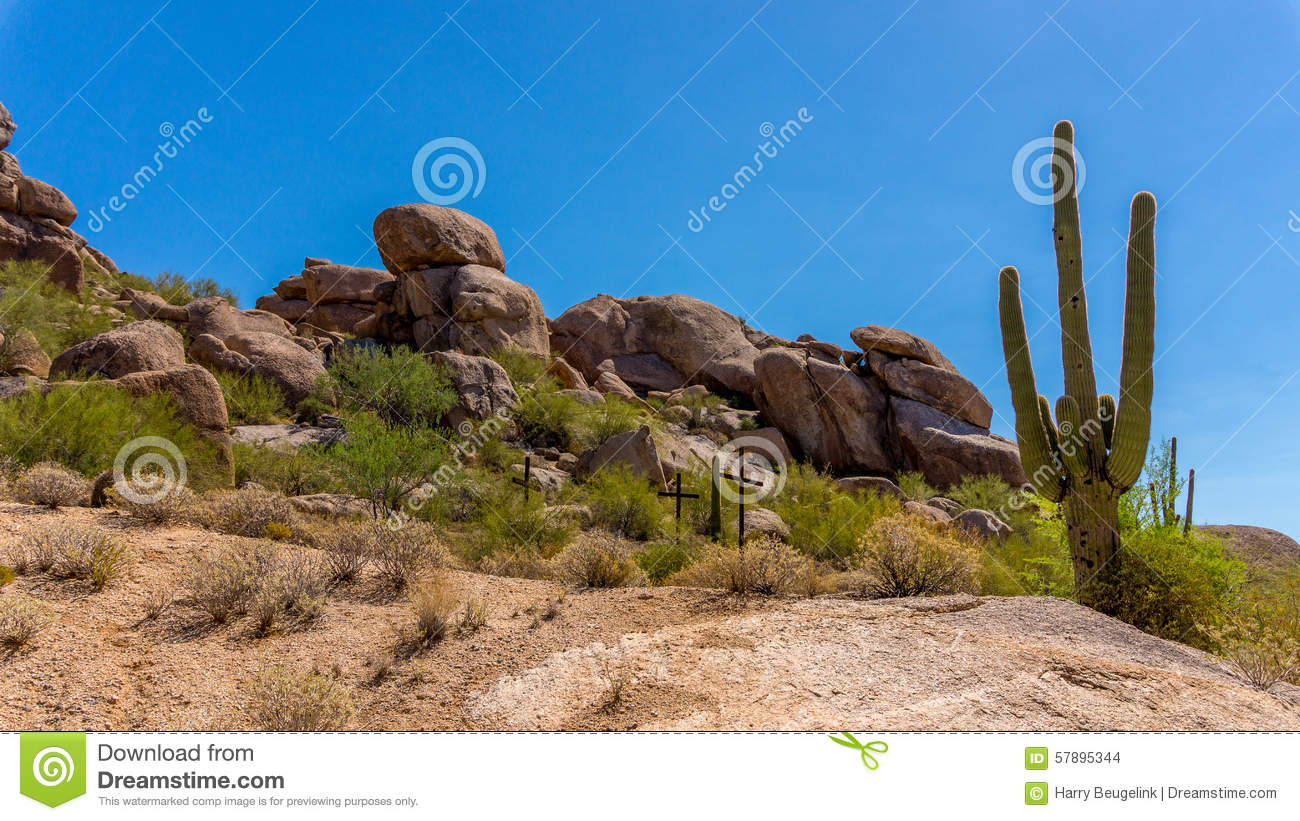 Three Crosses on a hillside in the desert