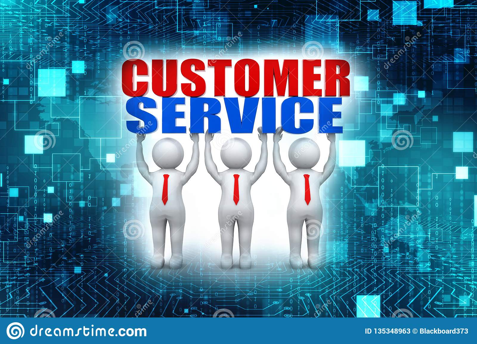 Customer Service Concept  3d Render Stock Illustration