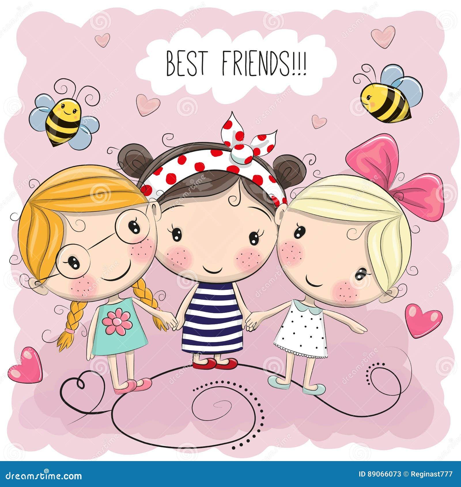 Three Cute Cartoon Girls Stock Vector Illustration Of Femininity
