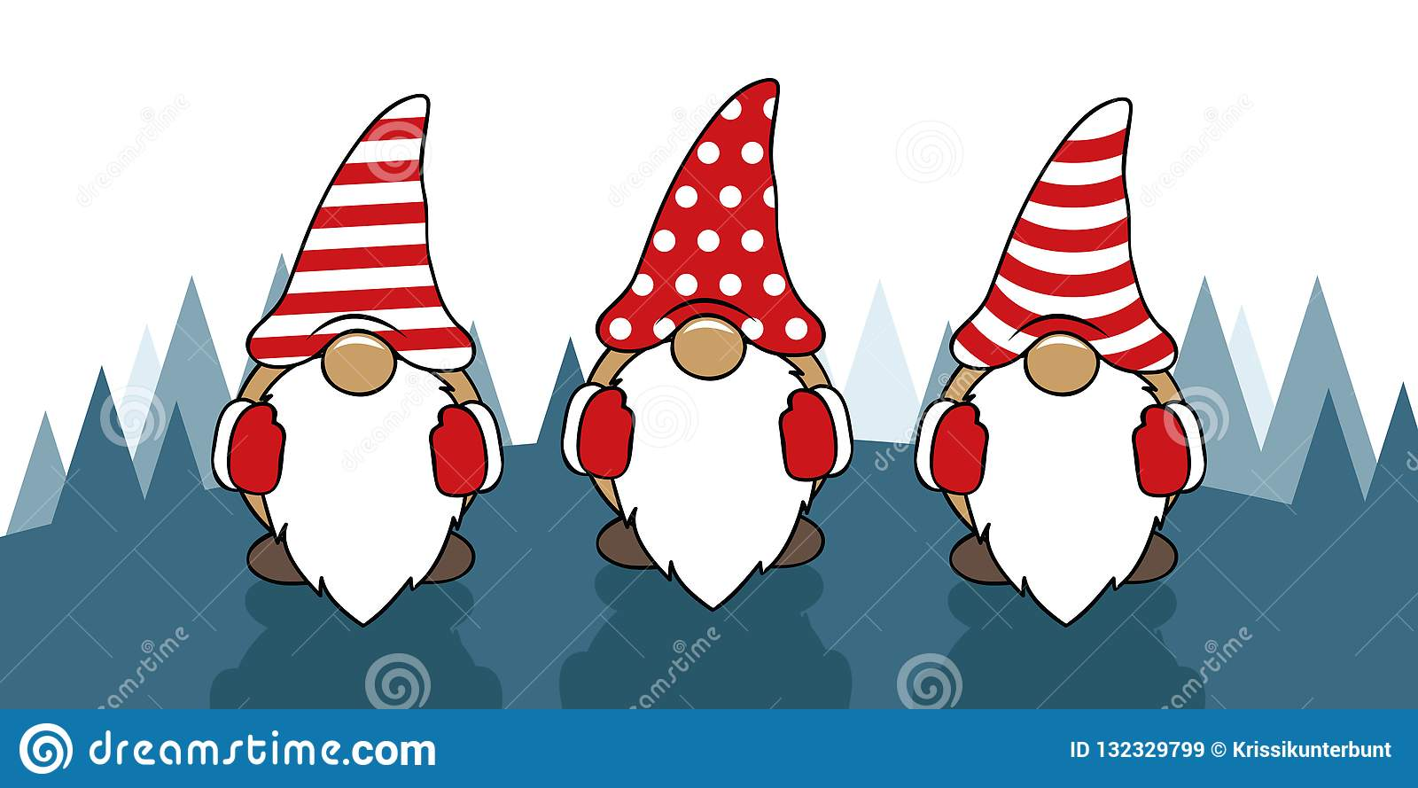 Christmas Gnomes Images.Three Cute Christmas Gnomes With Funny Caps Stock Vector