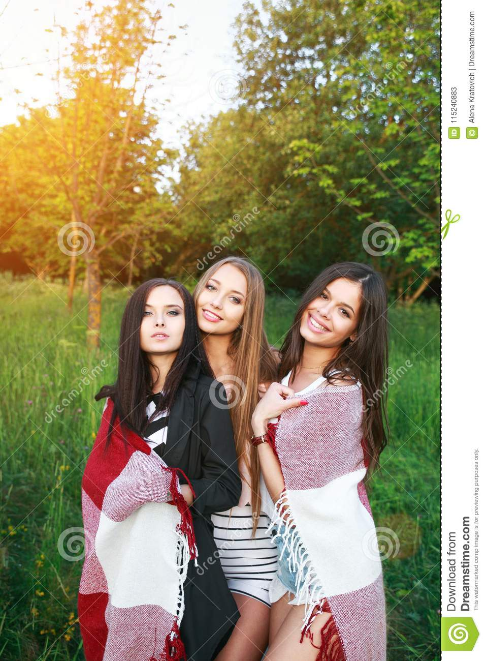 Three Cute Girls Standing In The Plaid Outdoors Best Friends Having