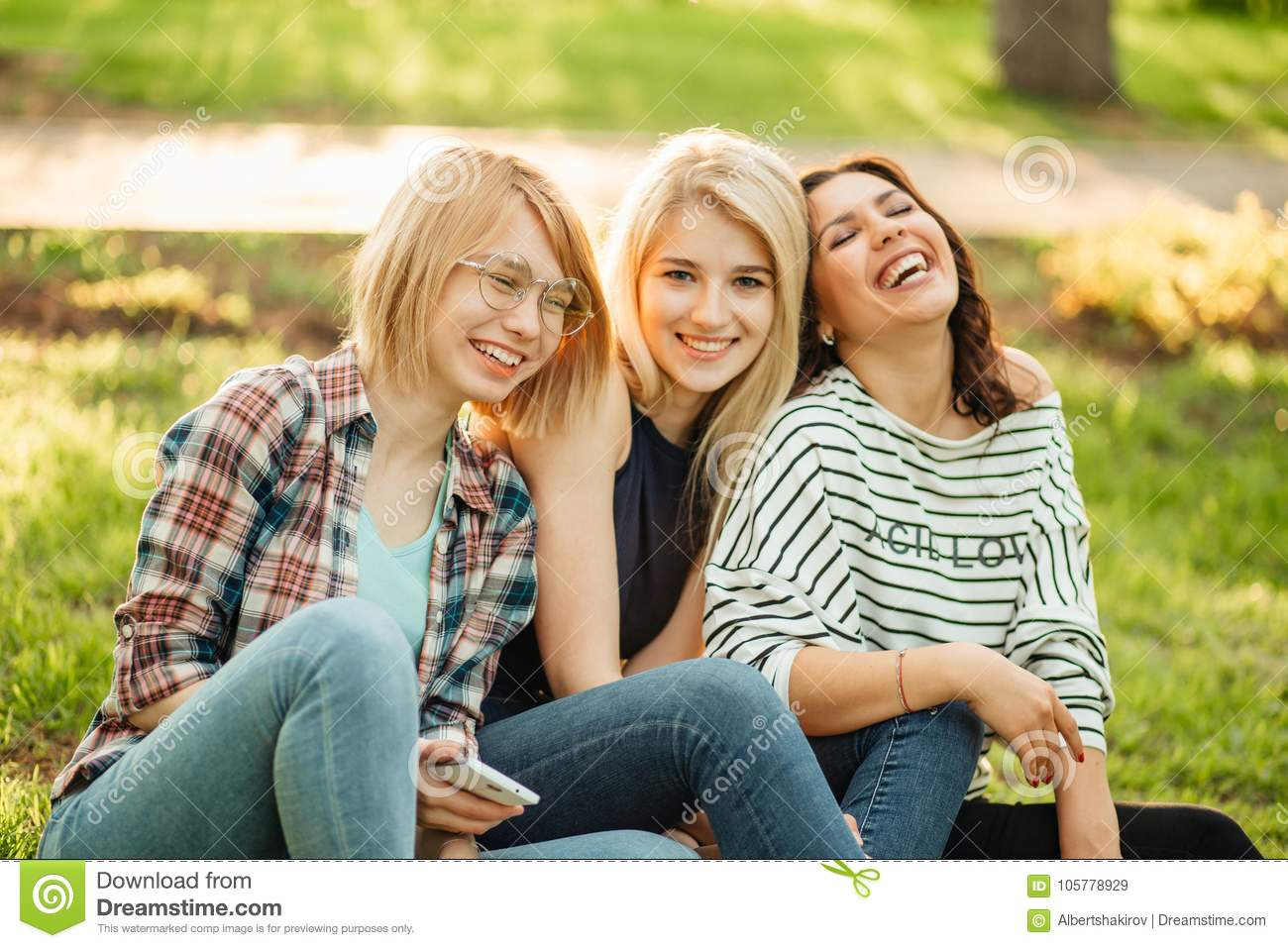 Three Cute Hippie Girl Sitting Outdoors Best Friends Having Fun And Laughing Stock Image Image Of Friendship Active 105778929