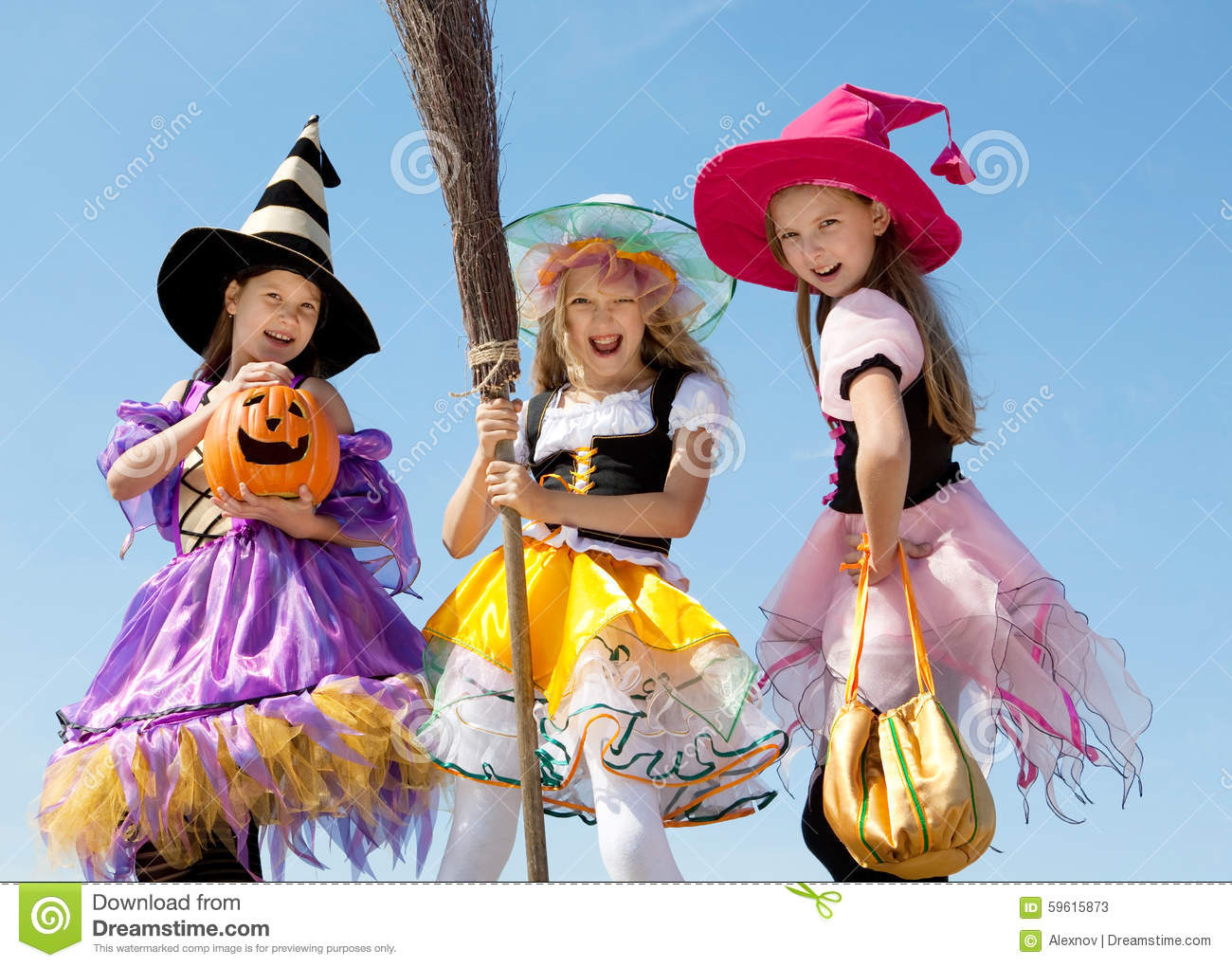 Three Cute Little Witches Standing With Broom Stock Photo - Image ...