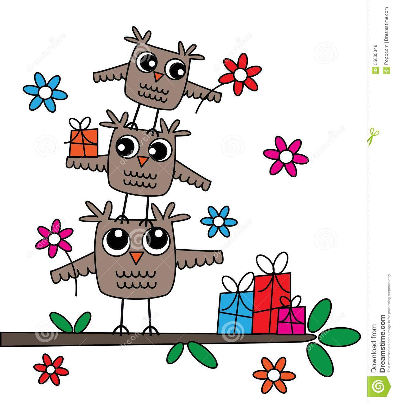 Tree And Owl Wall Stickers Three Cute Owls Happy Birthday Stock Illustration Image